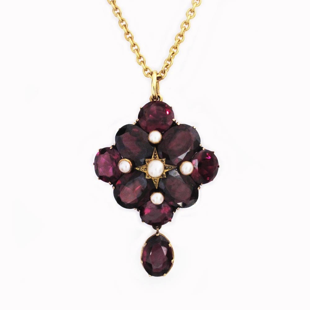 An Antique Gold, Garnet and Pearl Pendant