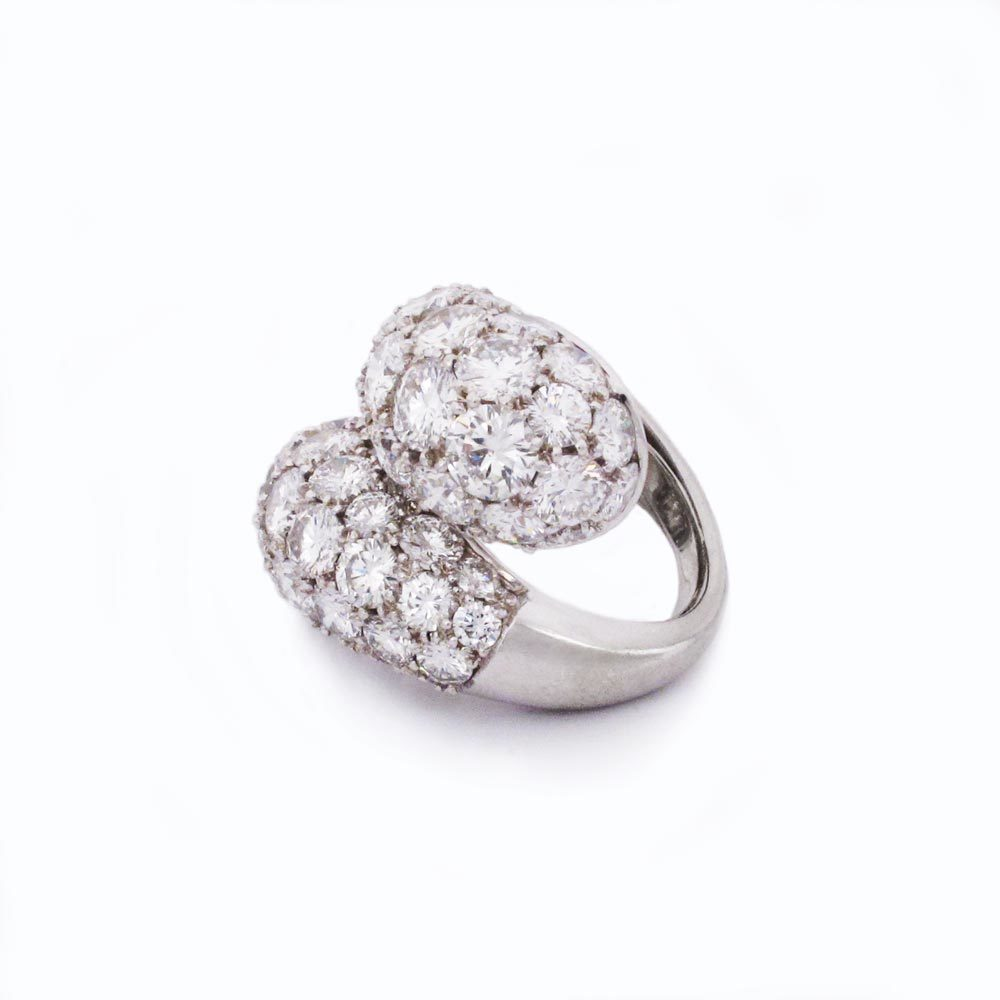 SOLD - A Platinum and Diamond Crossover Ring