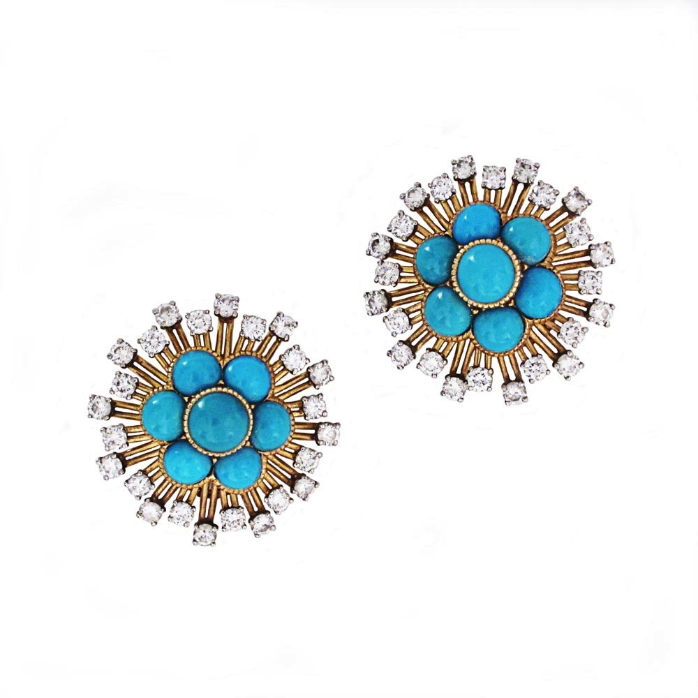 A Pair of French Estate Turquoise and Diamond Cluster Earrings