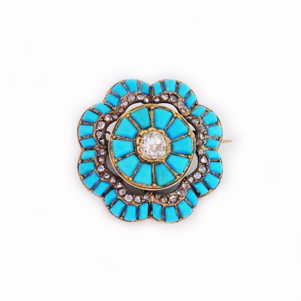 A Victorian Antique Turquoise & Diamond Brooch