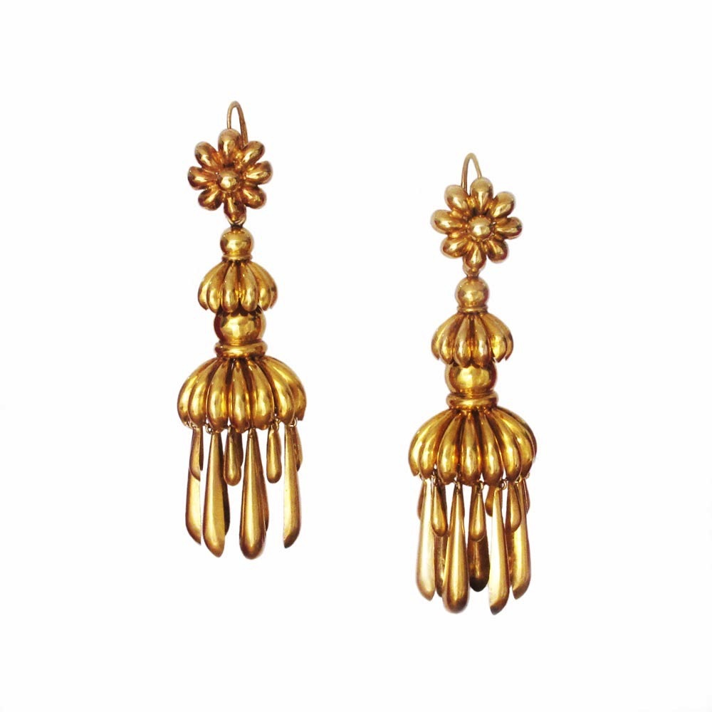 SOLD - Pair of Royal Gold Fringe Earrings