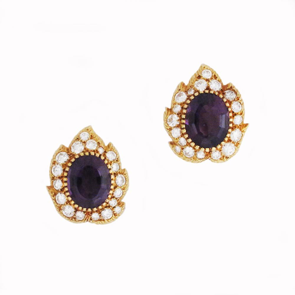 A Pair of French Amethyst & Diamond Earrings