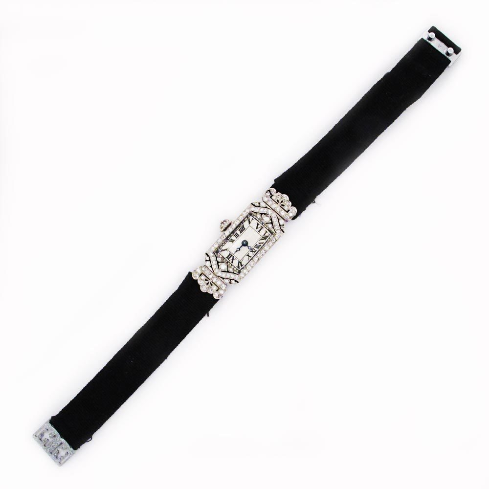 A Lady's Art Deco Diamond Wrist Watch
