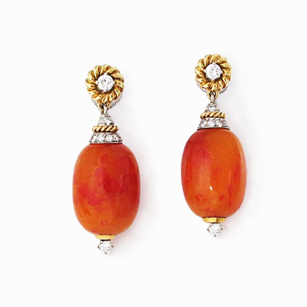 A Pair of American Estate Amber Earrings
