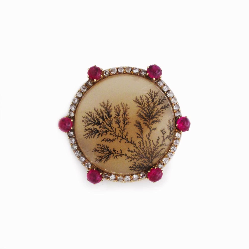 An Antique Moss Agate, Diamond and Ruby Brooch