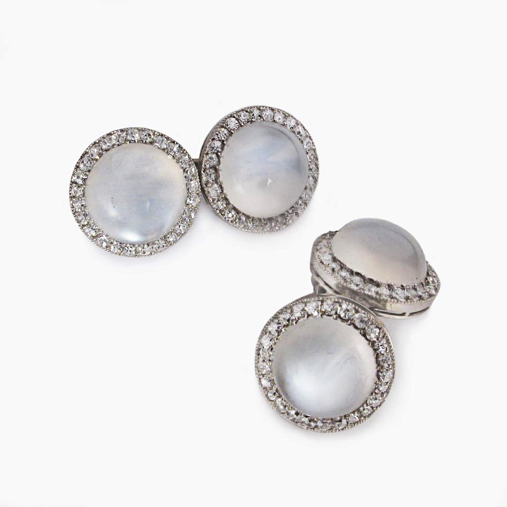 SOLD - A Pair of Cartier Antique Moonstone and Diamond Cufflinks