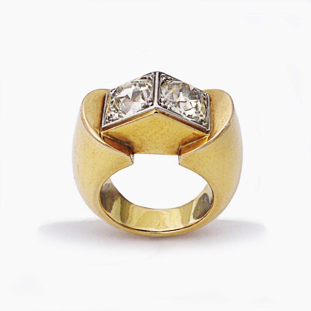 "A French Retro Gold & Diamond ""Toit"" Ring"