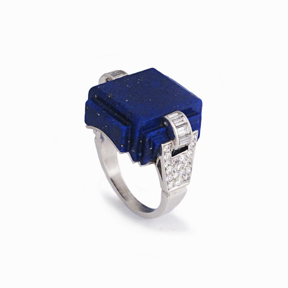 An Art Deco Lapis & Diamond Ring