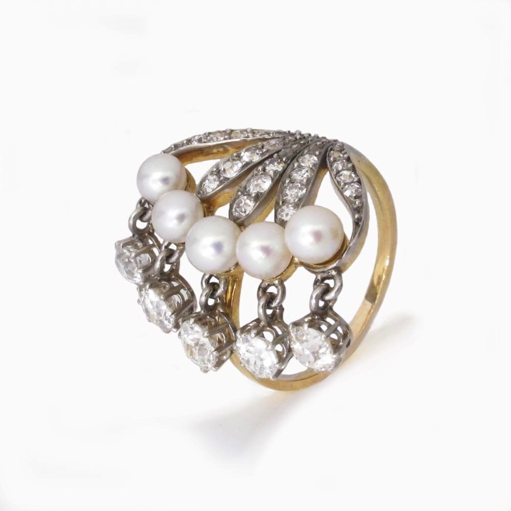 An Antique Seed Pearl and Diamond Ring