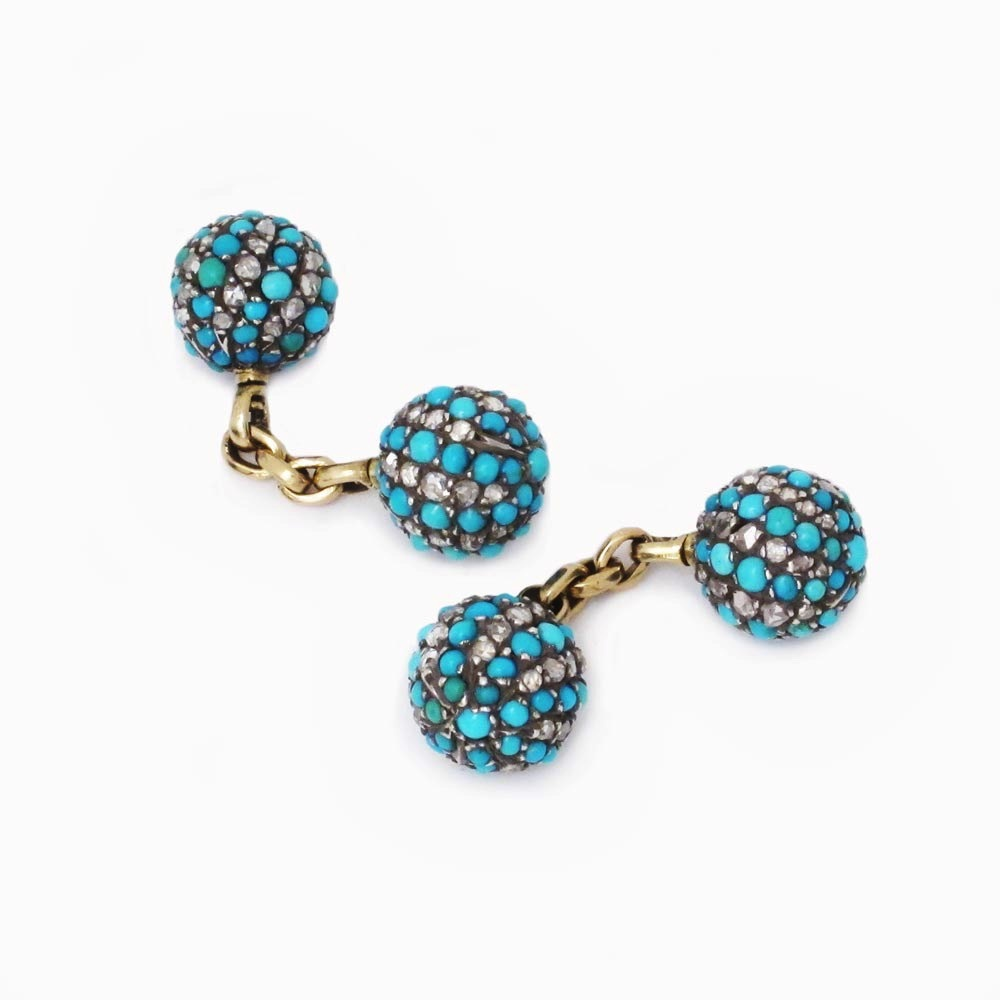 A Pair of Antique Turquoise and Diamond Cufflinks