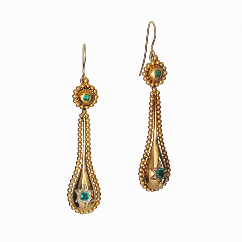 A Pair of Antique Emerald & Diamond Earrings