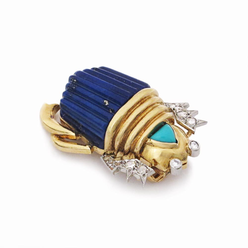 A Cartier Lapis and Gold Scarab Brooch
