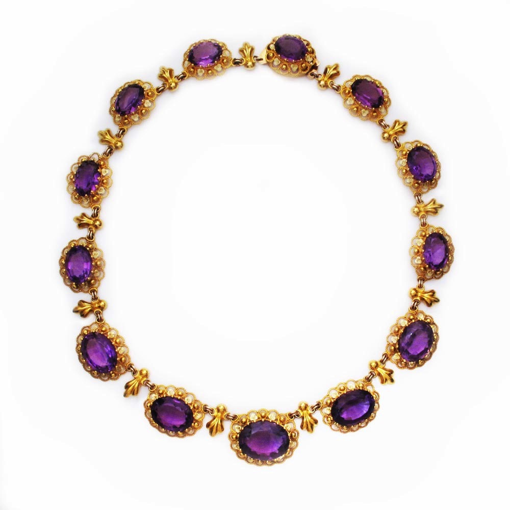 An Antique English Georgian Cannetille Gold and Amethyst Necklace
