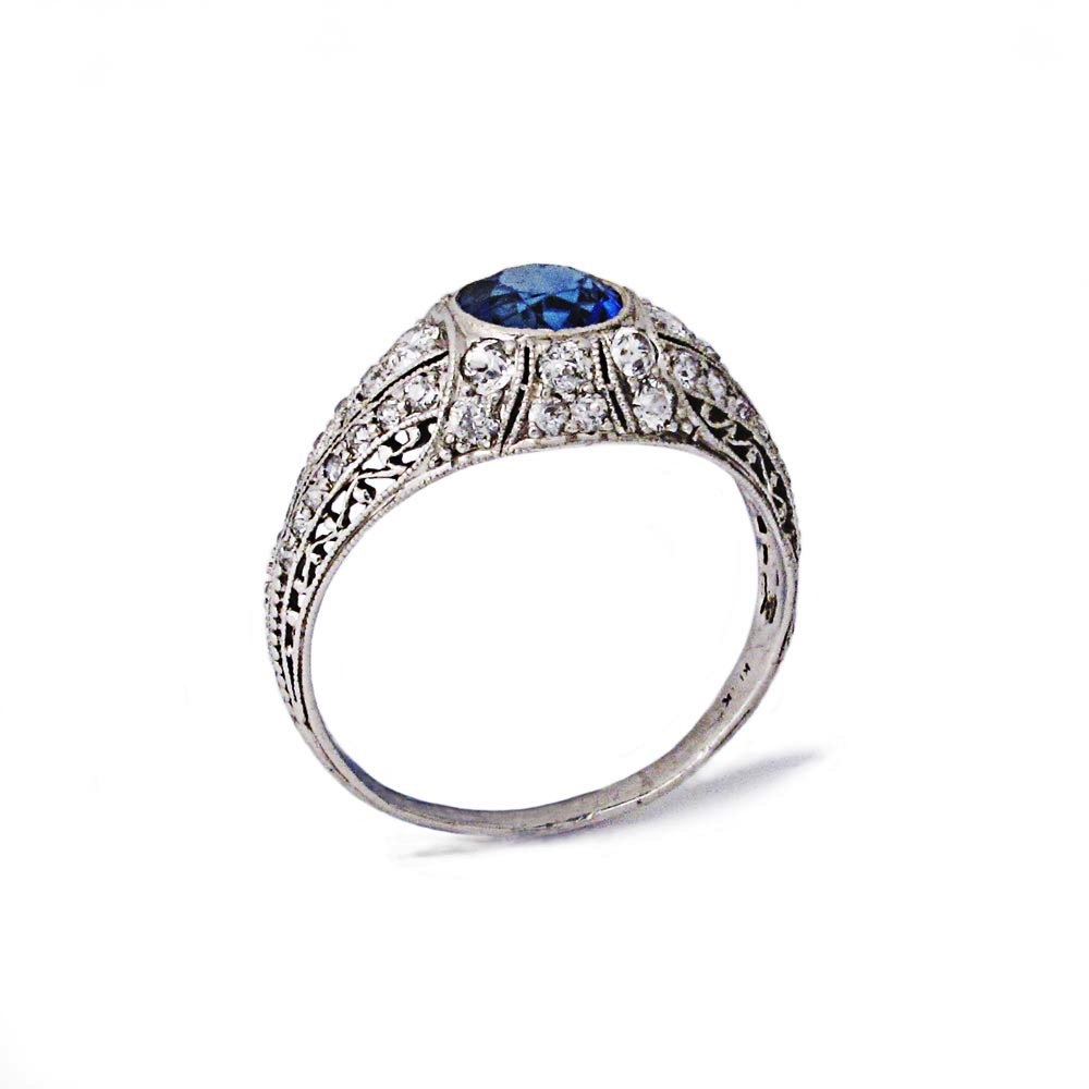 An American Art Deco Montana Sapphire & Diamond Ring