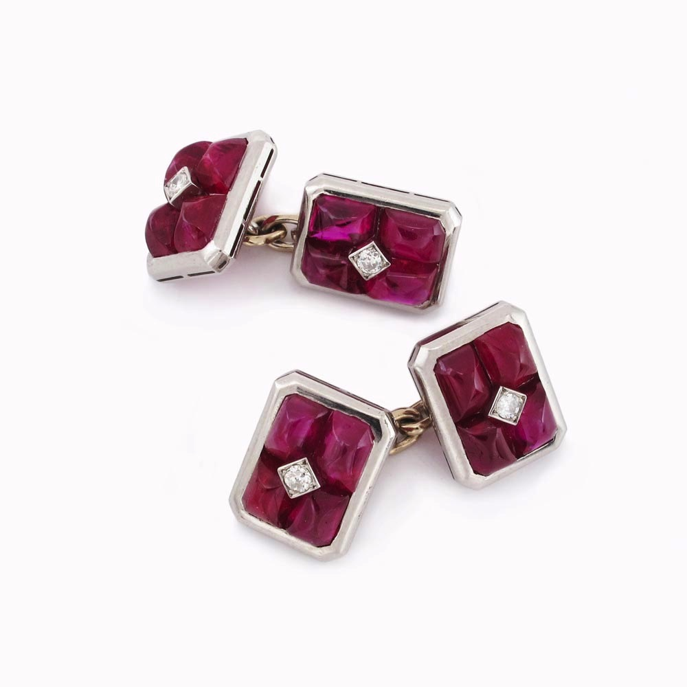 A Pair of Ruby & Diamond Cufflinks