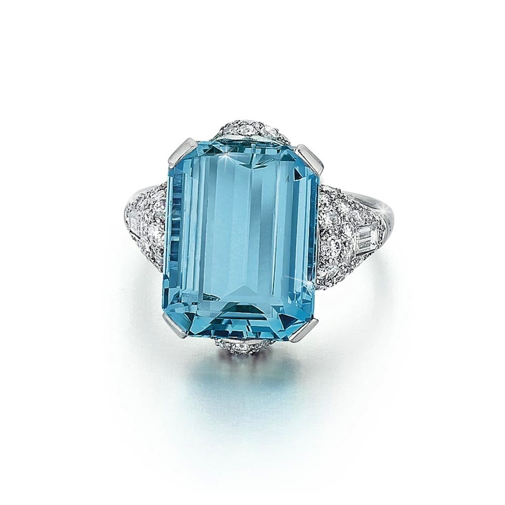An Art Deco Aquamarine and Diamond Ring
