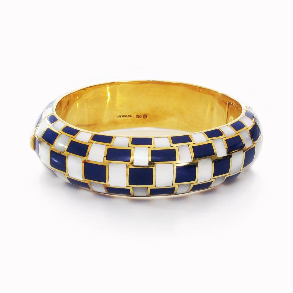 An American Estate Lapis & Mother-of-Pearl Bangle Bracelet