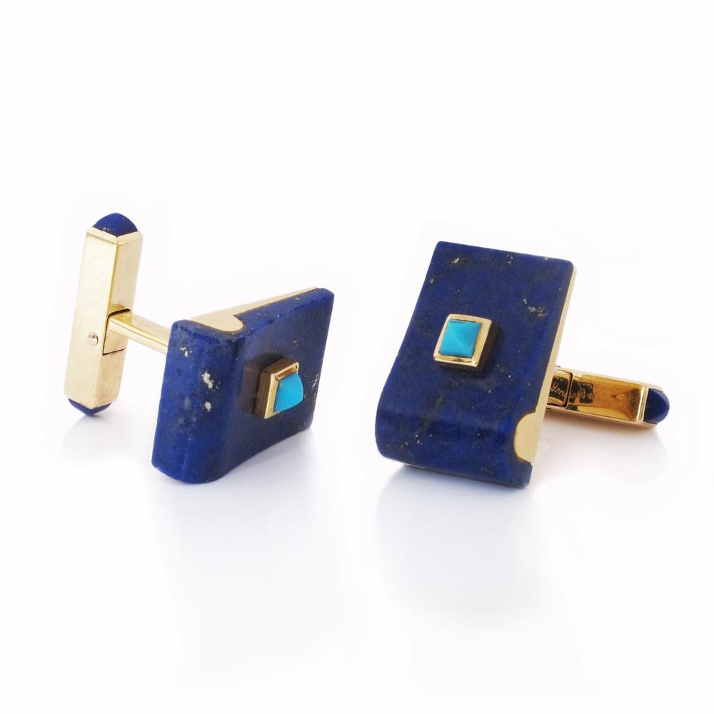 A Pair of Lapis & Turquoise Cufflinks