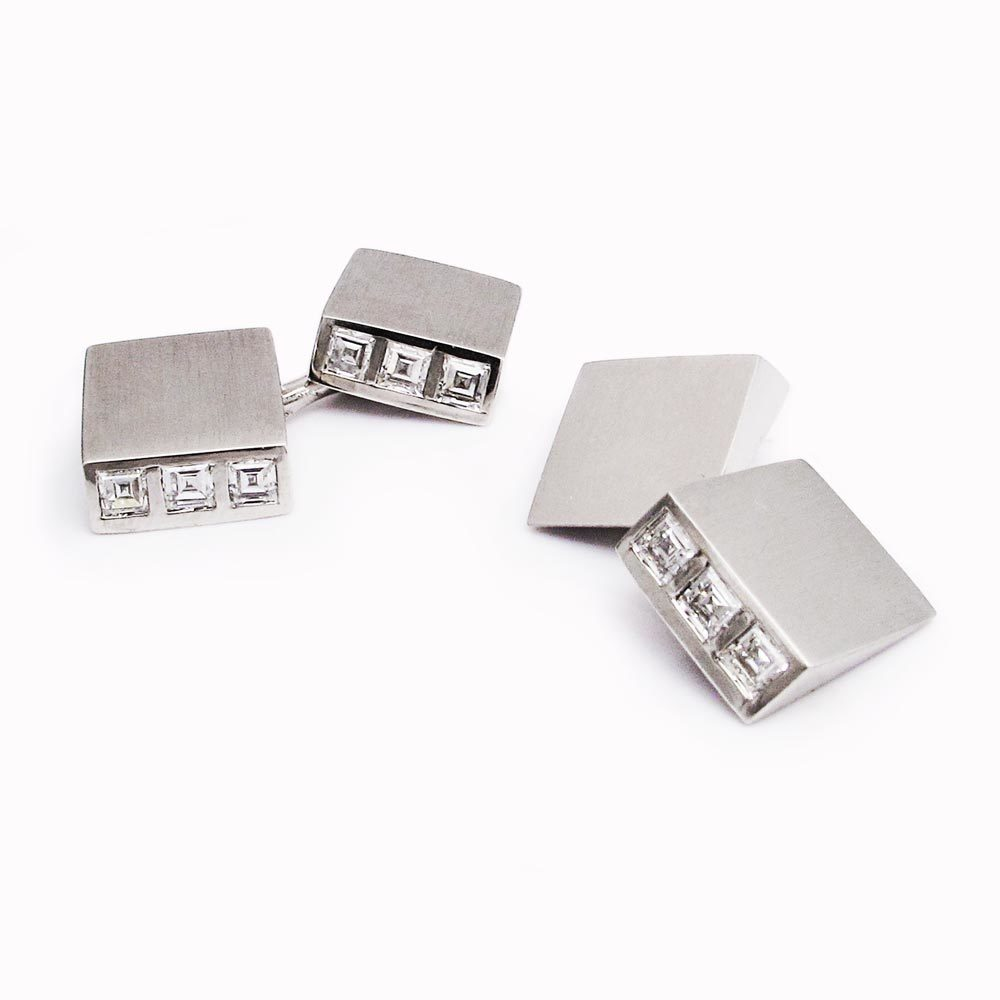 A Pair of American Art Deco Diamond Cufflinks