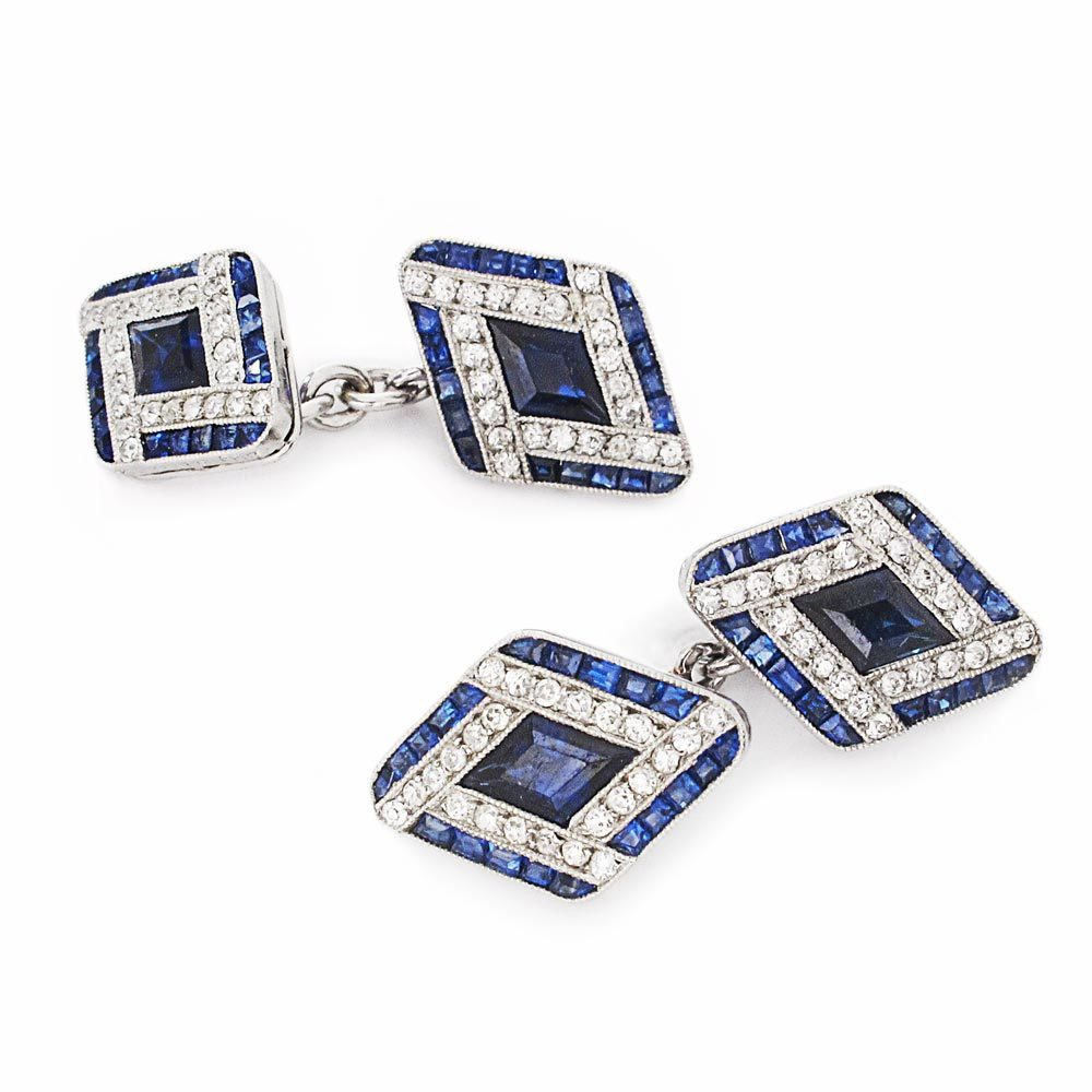 A Pair of French Art Deco Sapphire & Diamond Cufflinks