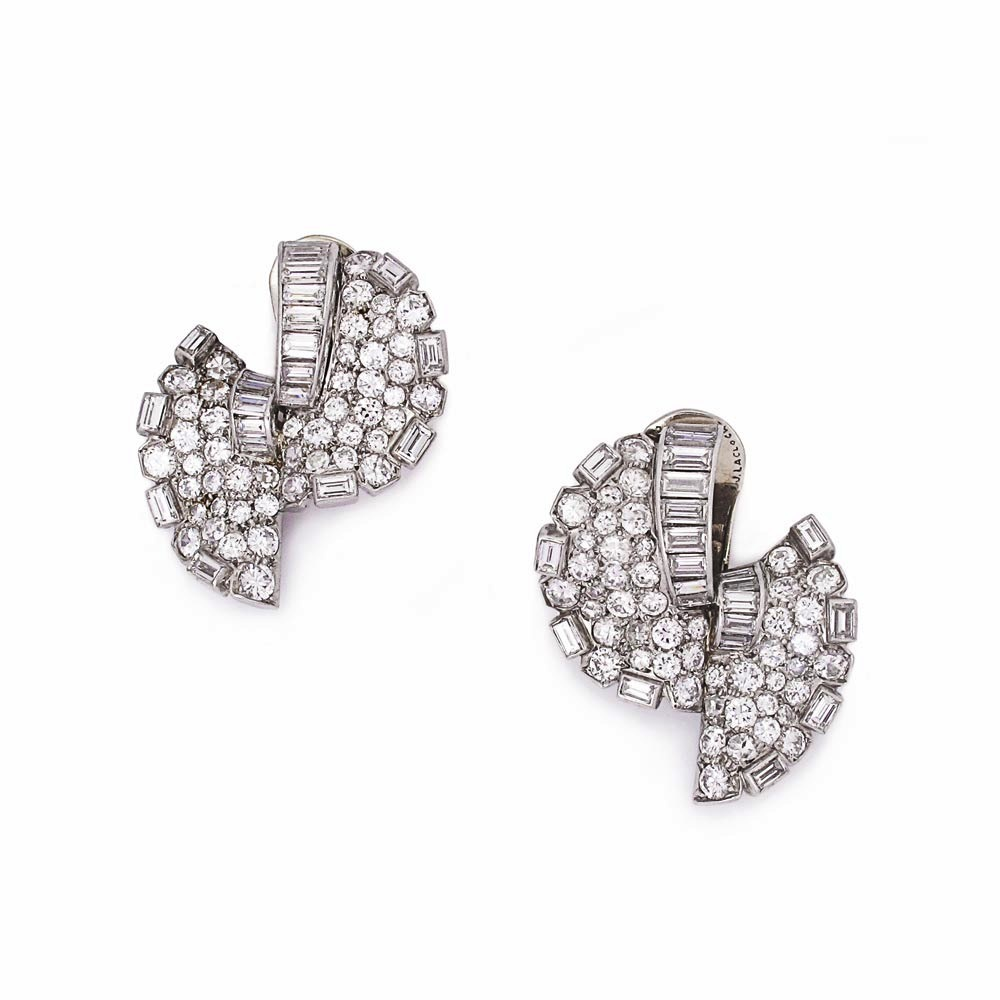 A Pair of French Art Deco Diamond Earrings
