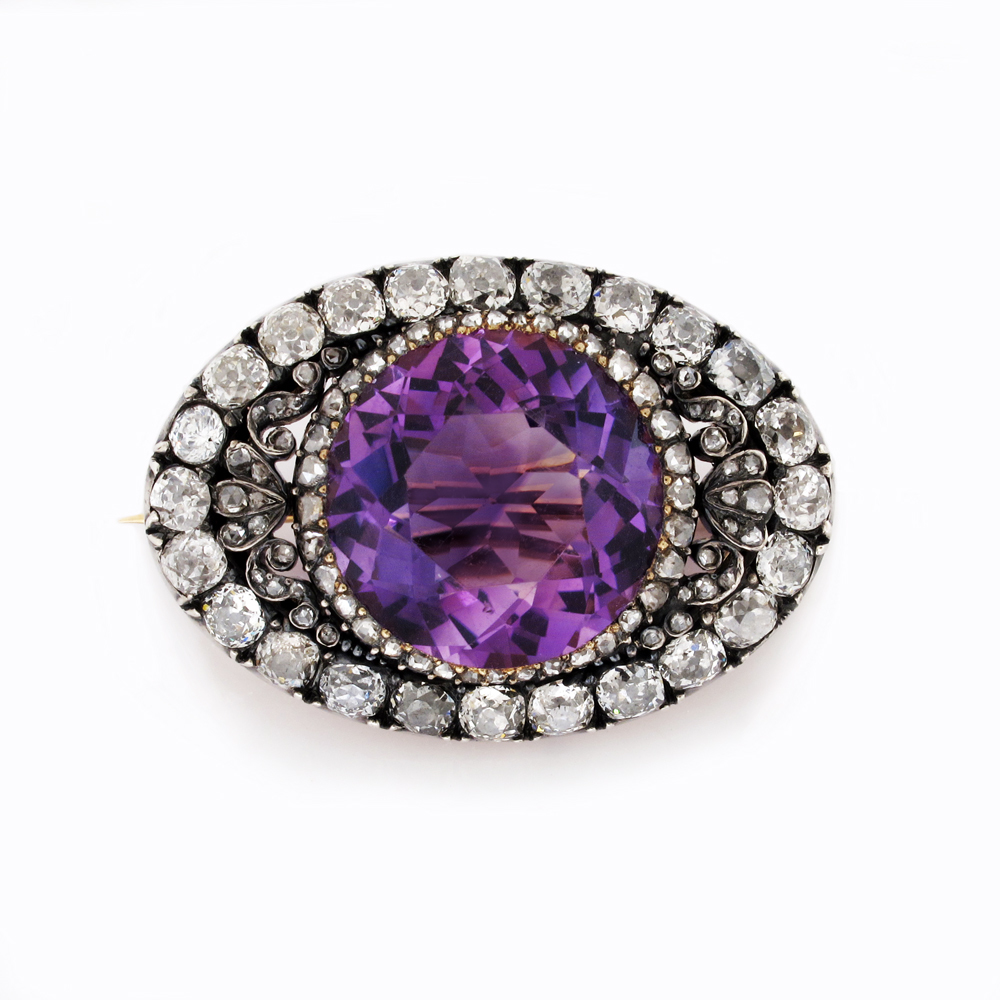 An Antique Amethyst & Diamond Brooch
