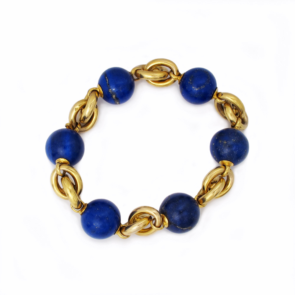An Antique Victorian Lapis & Gold Bracelet