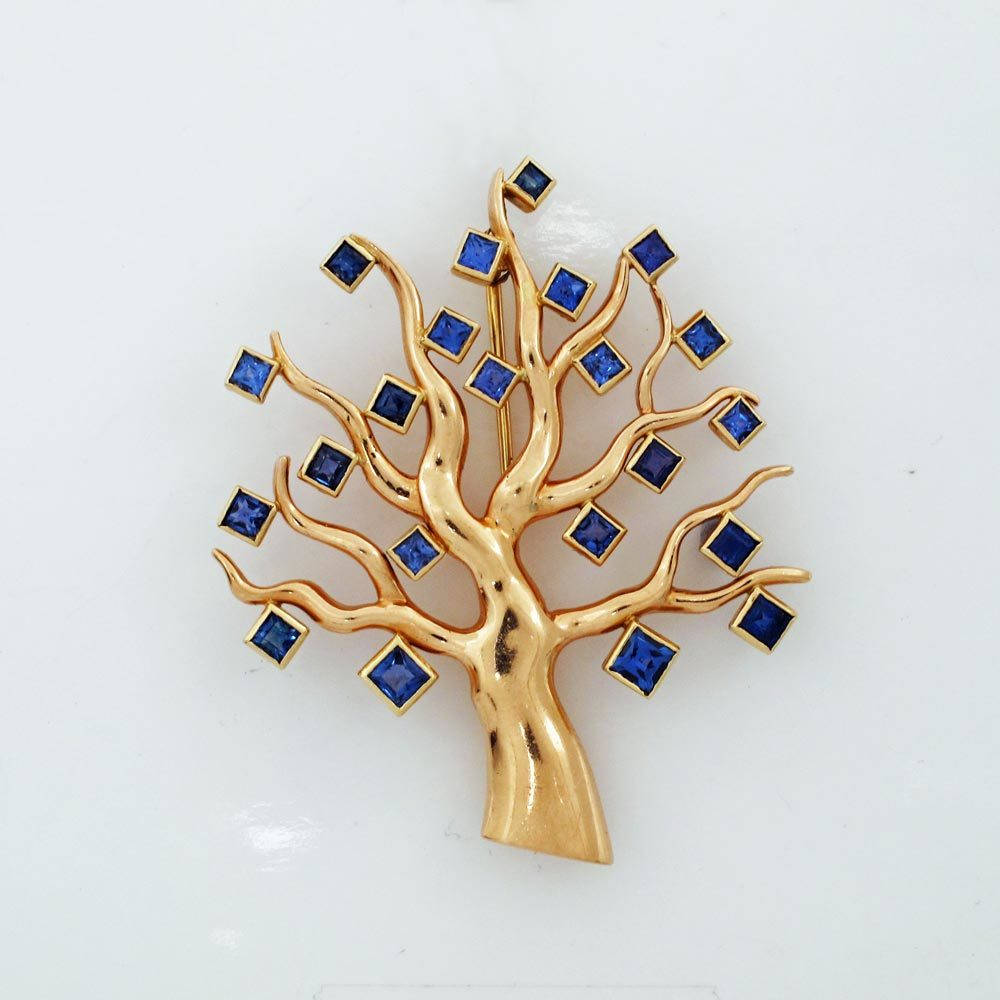 An American Retro Gold and Sapphire Tree of Life Brooch