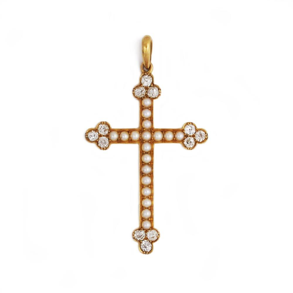 An Antique English Pearl and Diamond Cross