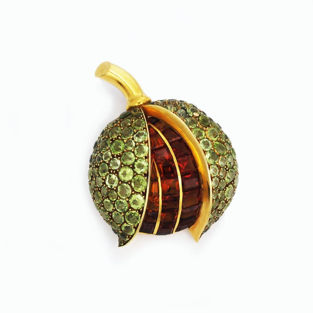 A French Gold, Peridot and Citrine Chestnut Brooch