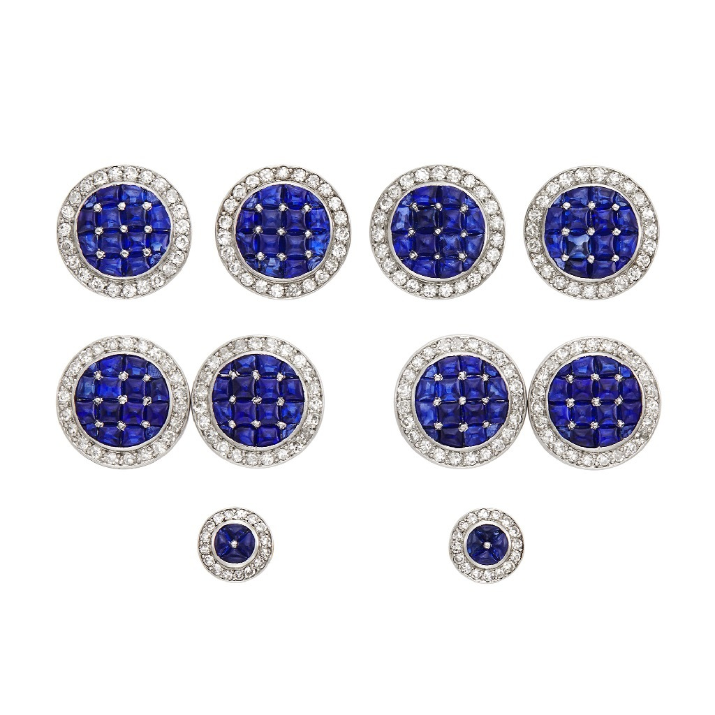 An American Art Deco Platinum, Gold, Cabochon Sapphire and Diamond Dress Set