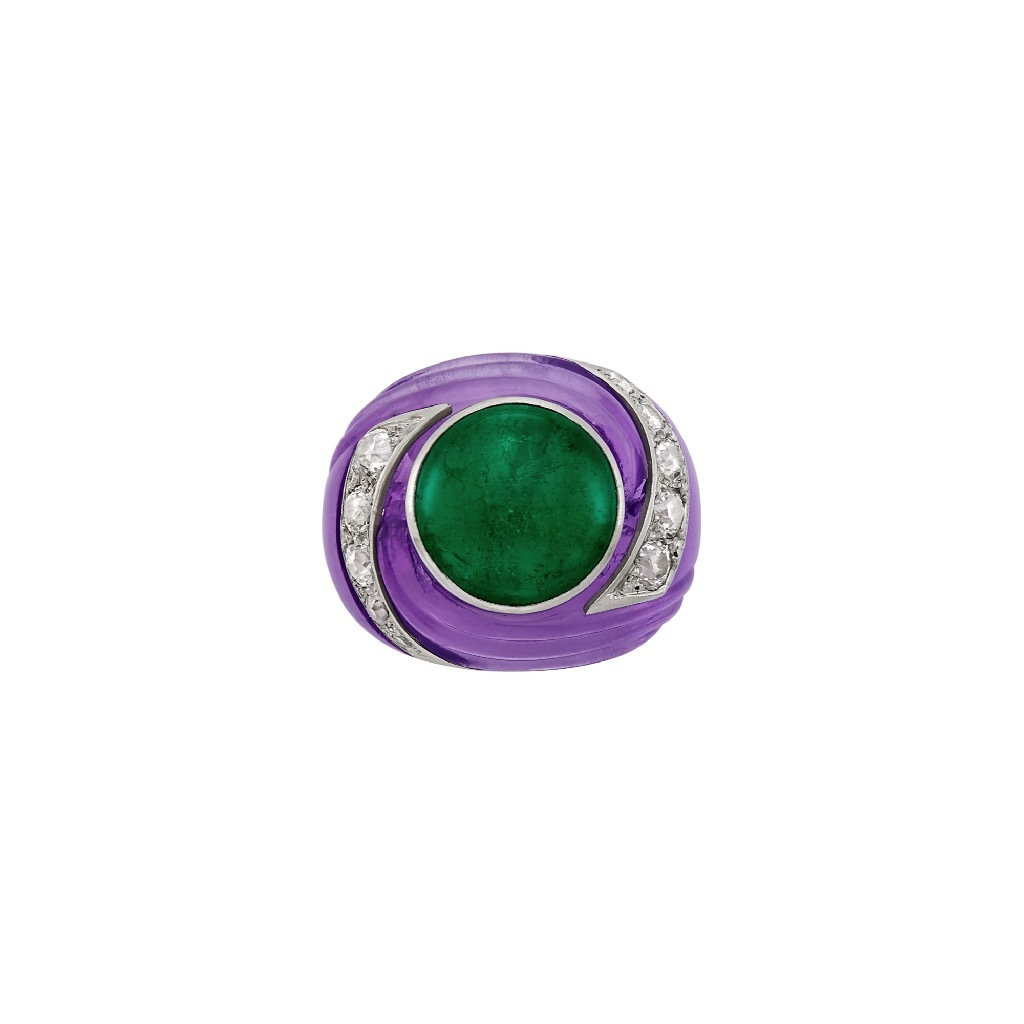 A Carved Amethyst, Cabochon Emerald, Platinum and Diamond 'Tourbillon' Ring by Belperron