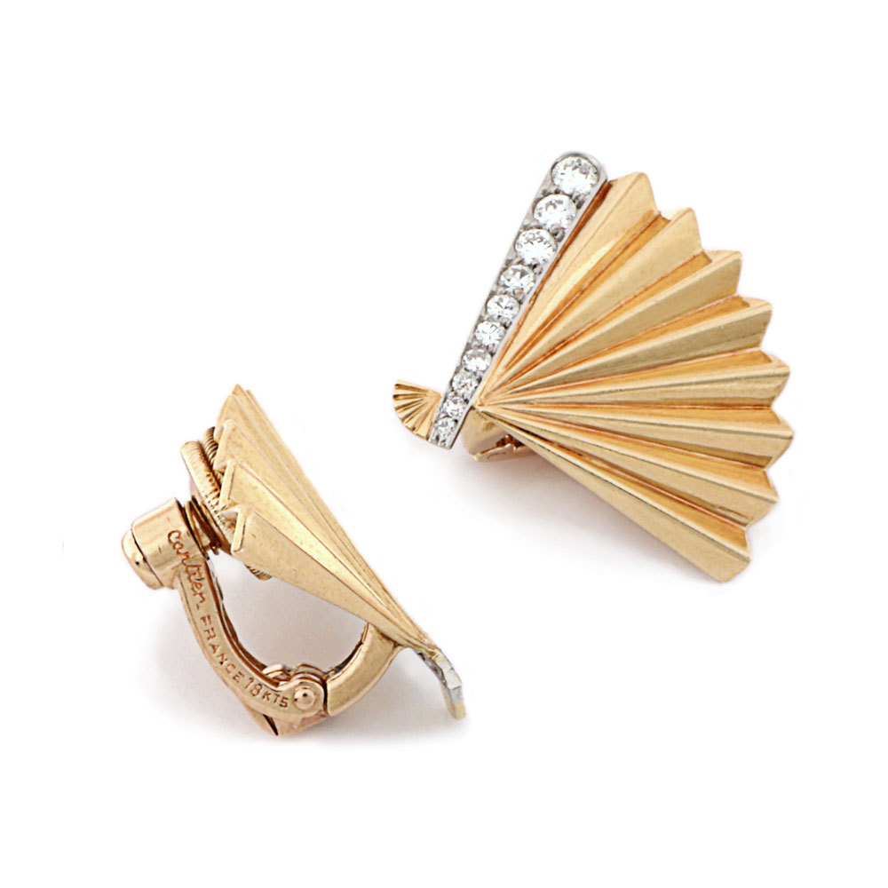 A Pair of French Estate Fan-Shaped Earrings