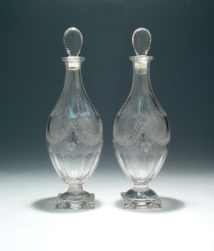 A Pair of Victorian Antique English Glass Decanters