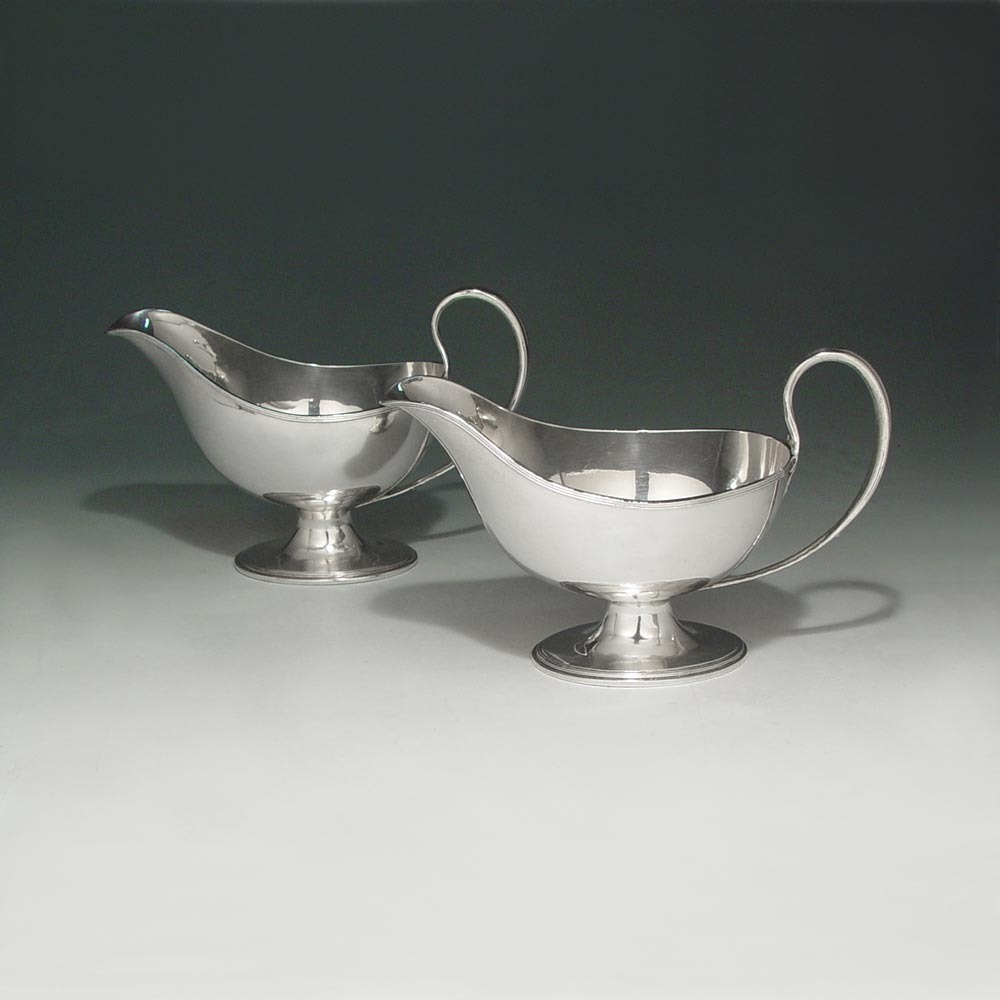 A Set of Four Georgian Antique English Old Sheffield Plate Sauce Boats