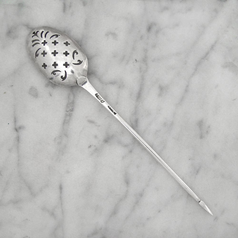 A George II Antique English Silver Mote Spoon