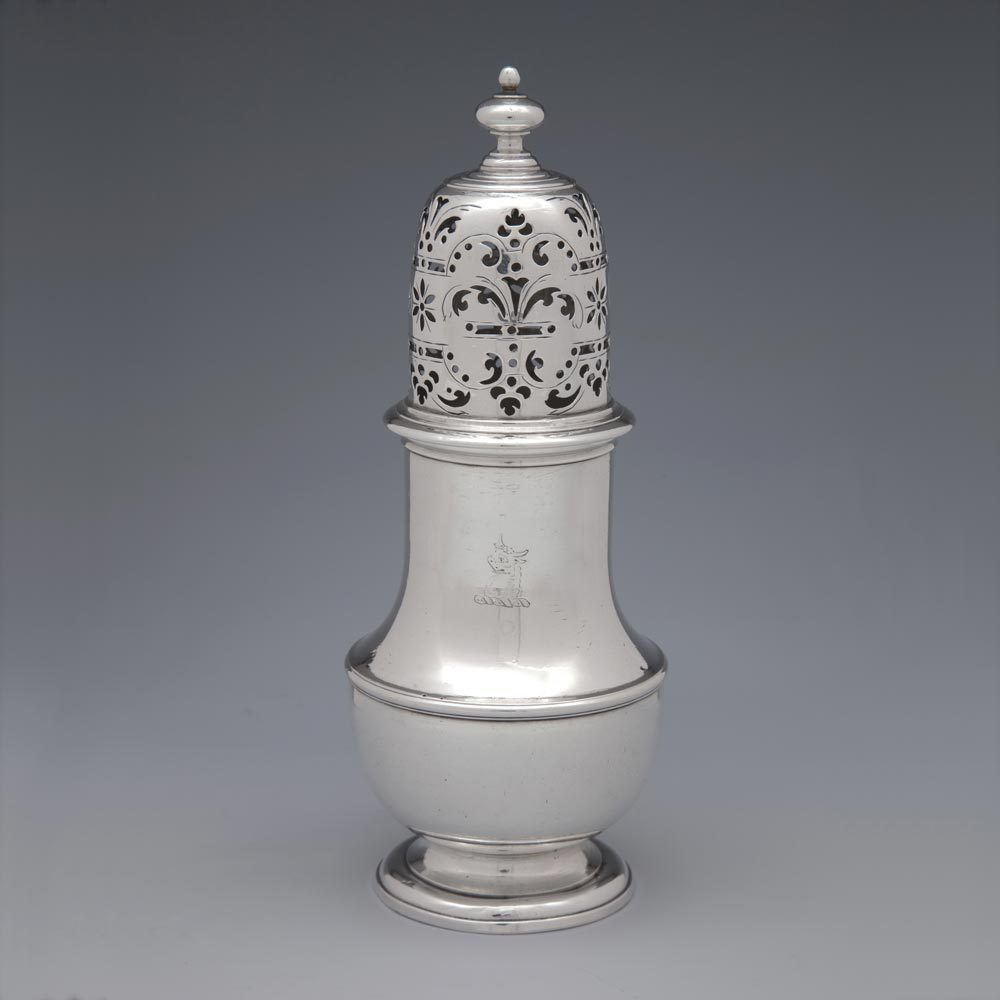 A George II Antique English Silver Caster