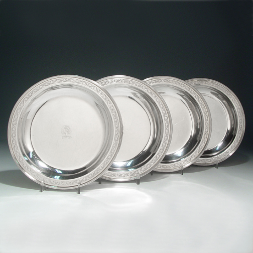 A Set of Four George III Antique English Silver Dishes