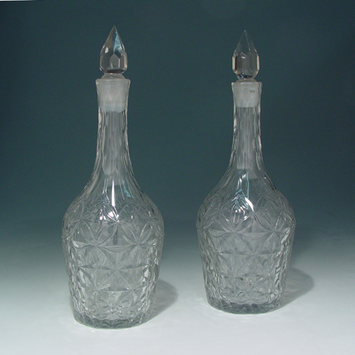 SOLD - A Pair of Antique Continental Glass Decanters