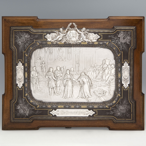 SOLD - An Important Victorian Antique English Silver Plaque with Damascened Iron Frame