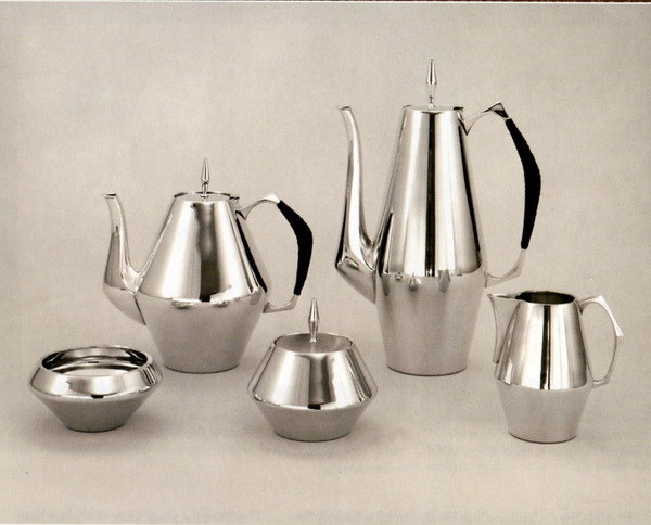 SOLD - A Five Piece American Sterling Silver Diamond Pattern Tea and Coffee Service