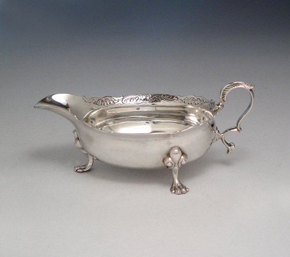 SOLD - A George II Antique Scottish Silver Sauce Boat