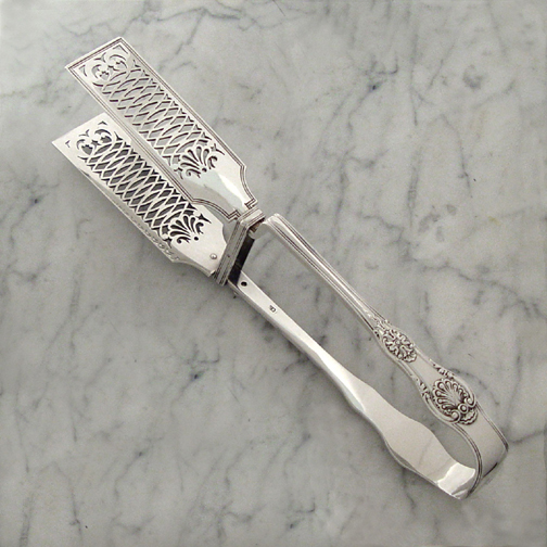 SOLD - A Rare George IV Antique Scroll Rosette Pattern Asparagus Tongs