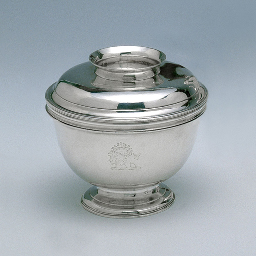 SOLD  - A George II Antique English Silver Sugar Bowl and Cover