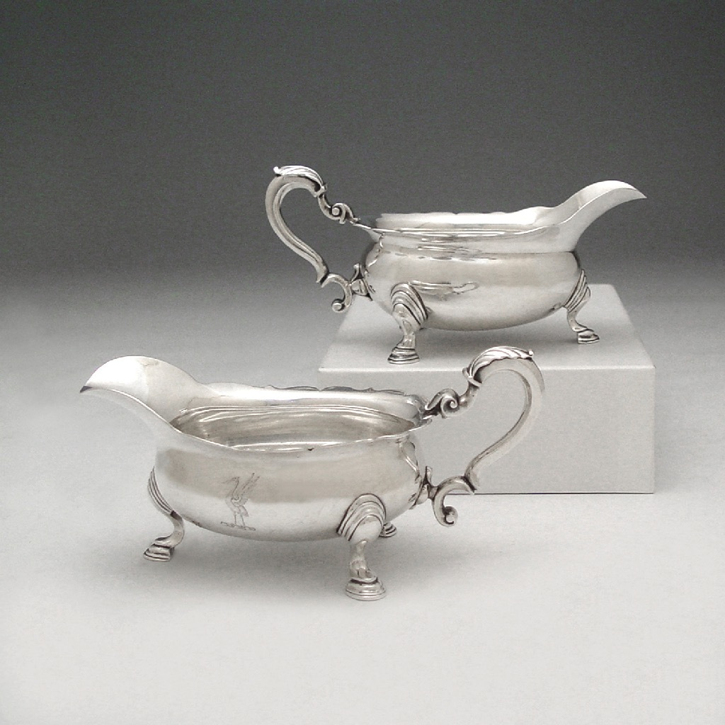 A Matched Pair of George II Antique English Silver Sauce Boats