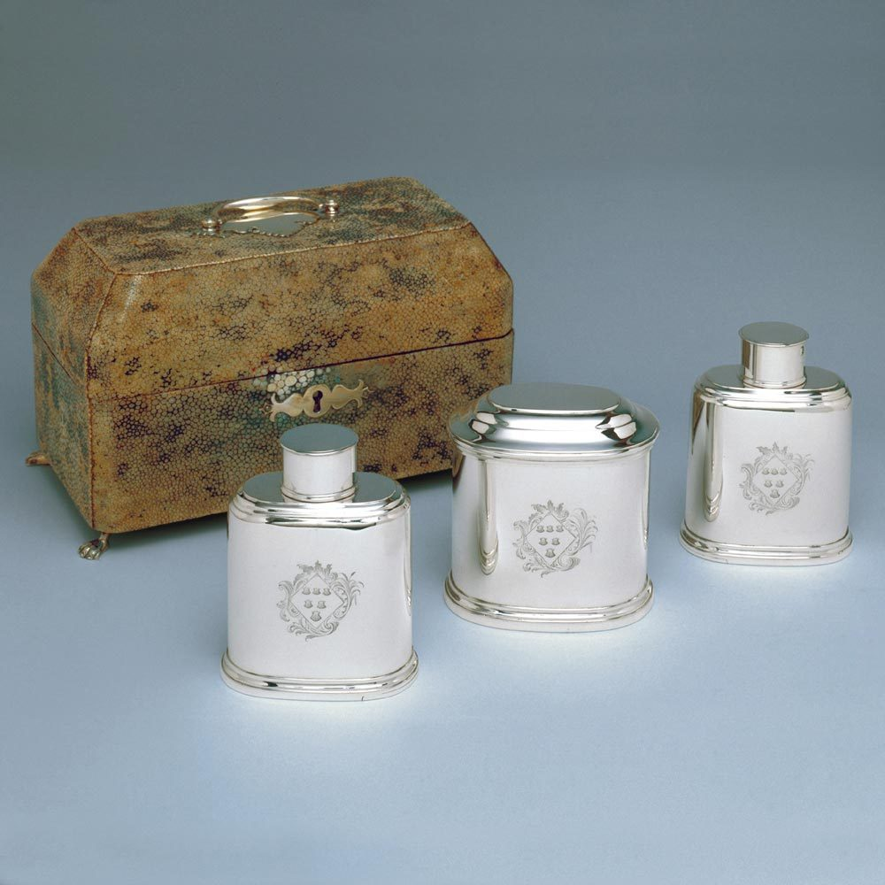 A Set of Three George II Antique English Silver Tea Caddies in Shagreen Case