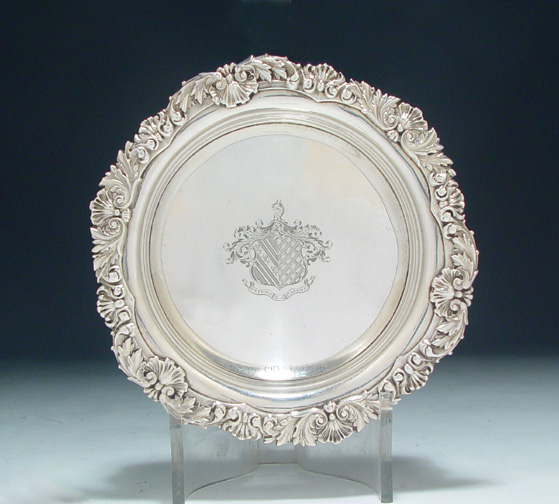 SOLD - A Fine George IV Antique English Silver Wine Coaster