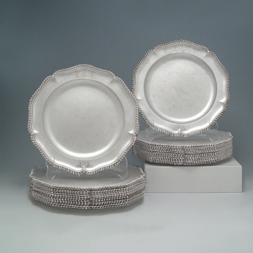 SOLD - A Set of 27 George III Antique English Silver Dinner Plates