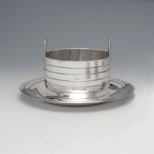 SOLD - A George III Antique Irish Silver Butter Tub and Stand