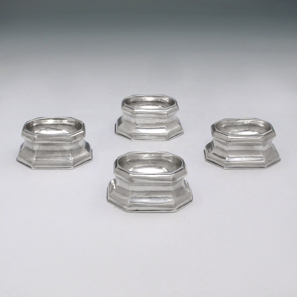 A Set of Four Octagonal George II Antique English Silver Salts